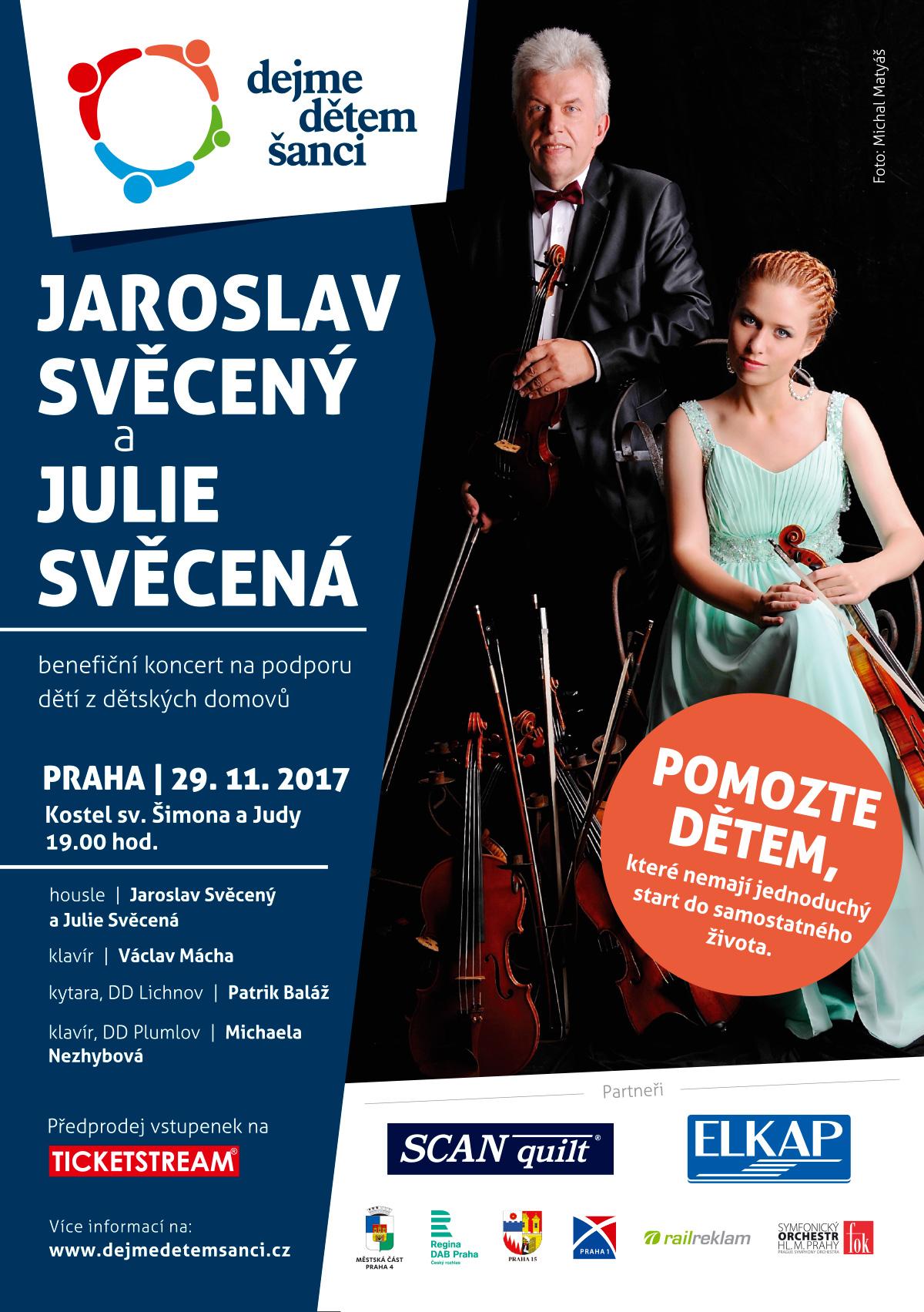 Benefiční koncert na podporu dětí z dětských domovů: Jaroslav Svěcený a Julie Svěcená